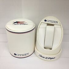 CITIZEN Original Stars Stripes White PU Watch Box Presentation Storage Case RARE