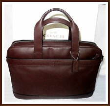 NWT $450 Coach Mens Leather Hamilton Briefcase Laptop Commuter Bag BROWN RECEIPT