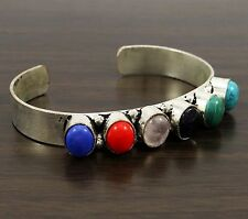 Indian Fashion Silver Plated Multi Gemstone Adjustable Cuff Bracelet Jewelry