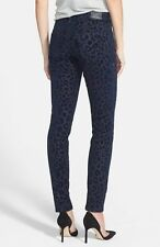 $228 NWT TRUE RELIGION Sz 25 /I:30 Halle Blue Leopard Flocked Super Skinny Jeans