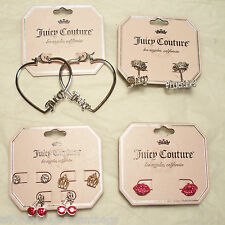Juicy Couture Heart Hoop Red Lips Red Cherry Gold Crown Logo Earrings LOT $70