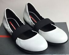 $390 Prada Leather Elastic Band Ballerina Flat Shoes Bianco Nero 38.5