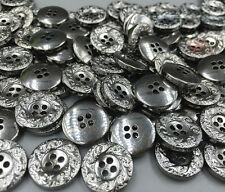 50pcs Vintage Resin Buttons Carving 4-holes decoration crafts Round sewing 15mm