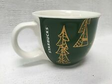 Starbucks Gold Christmas Trees Holiday 14 oz Coffee Mug Cup 2015 Green