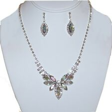 """8m Contemporary 16-18"""" Bridal SP Clear AB Crystal Marquise Necklace Set"""