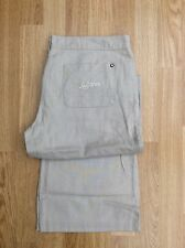 LADIES LAMBRETTA RELAXED FIT LINEN TROUSERS STONE ZIP FLY W12 L32