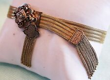 ANTIQUE 25.5 Gr. 14Kt GOLD SLIDE BRACELET Tassels, Enamel, Adjustable REDUCED!!