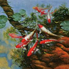 Modern sitting wall decor print oil painting Feng Shui Fish Koi Painting dw38