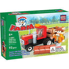 Tractor with Trailer Log BricTek Building Block Construction Toy Brick Farm