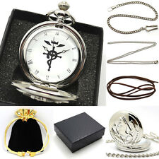 Retro Silver Fullmetal Alchemist Pocket Watch Quartz Set Of Accessories Bag Box