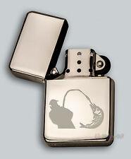 ENGRAVED lighter FISH FISHING design IN METAL TINS STAR Petrol Personalised