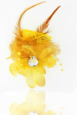 New 1pcs Headdress Flower Feather Rhinestone Hair Pin Brooch Clip yellow