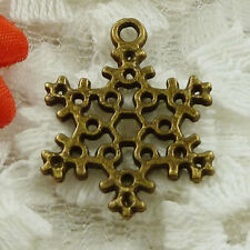 Free Ship 65 pieces bronze plated snowflake charms 23x17mm #1549
