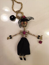 BETSEY JOHNSON CREEP SHOW LONG  SKELETON SKULL GIRL NWOT!