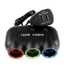 12V-24V Car Cigarette Lighter Splitter Hub Independent Switch with Dual USB LED