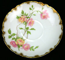 "Haviland Limoge France Baltimore Rose 5-1/8"" Diameter Saucer Pink/Yellow 1151"