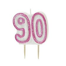 Pink Glitz Number 90 Candle 90th Birthday Cake Candles Party Decorations