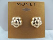NWT MONET GOLD hammered CHUNKY FLOWER EARRINGS, Signed, Shiny