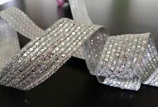 1M  SILVER BRAID LACE RIBBON TRIM WITH DIAMANTE 30MM WIDE