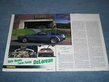 Gale Banks Twin Turbo Buick Powered DeLorean Vintage Article