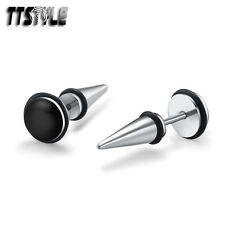 TTstyle 8mm Black Clear Epoxy Surgical Steel Fake Ear Spike Earrings A Pair NEW