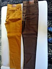 NEW LOT OF 2 OBEY DENIM Jeans PANTS SZ 36 W x 32 L MENS SLIM FIT BROWN AND TAN