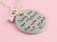 Thank You For Raising The Man Of My Dreams Necklace Handstamped Personalized