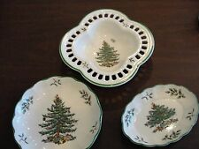 SPODER CHRISTMAS TREE 3 SMALL DISHES PIERCED + OVAL + ROUND