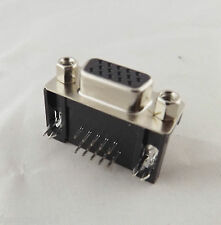 VGA DB15 15Pin D-SUB 3 Row Female Right Angle PCB Solder Cable Connector Adapter
