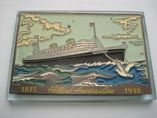 1873-1948 HOLLAND AMERICA LINE SOUVENIR ANNIVERSARY GLASS DESK PAPERWEIGHT
