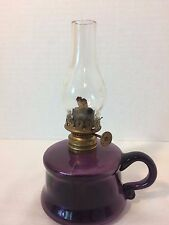 Antique Mini Kerosene Oil Lamp Little Buttercup Purple Amethyst Glass Finger P&A