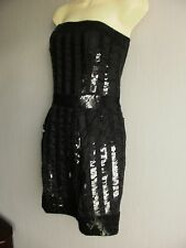 Strapless Bustier Mini Dress Black Sequin Covered Party Dress Sz L NEW DEBRANDED