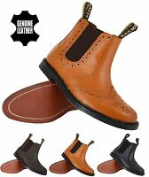 NEW MENS SLIP ON LEATHER SOLE DEALER CHELSEA ANKLE SMART OFFICE WORK BOOTS SIZE