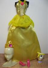 Barbie PRINCESS Belle Beauty and the Beast Clothes Gold Dress Gown Shoe Chip Cup