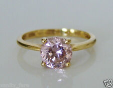 Beautiful QVC 14ct Gold Pink Diamonique Ring Size I