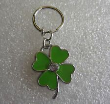 Fake Illusion Belly Ring - Green Clover w/Clear Gem - No Piercing Needed (300)