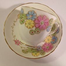 VTG FINE ENGLISH BONE CHINA TEACUP & SAUCER SET PLANT TUSCAN HAND PAINTED FLOWER