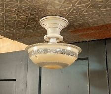 Vintage 3-Chain Hanging Ceiling Light Fixture Frosted Glass Shade Porcelain Base