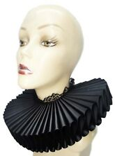 Big Black Satin Lace Ruffled Collar Gothic Queen Steampunk Elizabethan Victorian