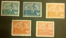 POLAND-STAMPS MNH Fi125I-127II Sc154-55A,191 Mi158-60,162-63 - Sowing man, 1921