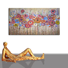 FLOWER PAINTING ABSTRACT SHABBY BROWN ORIGINAL ART NEW XXL CANVAS FRAMED 55 x 27