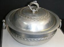 Vintage FORGED Aluminum POT w/ LID Vintage Flower/Leaf Design &Ruffled Edges Lid