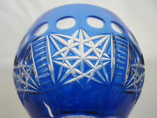 Vintage Cut to Clear Crystal Wine Glass - Cobalt Blue - Excellent Condition