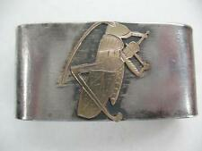 MODERNIST SILVER GOLD LARGE NAPKIN RING SCARF HOLDER GRASSHOPPER  BUG VIOLIN
