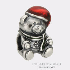Authentic Pandora Silver Christmas Bear with Red & Green Enamel Bead 791391ENMX