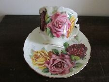 Aynsley England Demitasse Cup And Saucer Large Red Pink Yellow Сabbage Roses