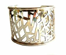 Anju Silver Plated Abstract Filigree Wide Cuff Bracelet (B385)