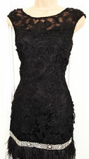 Lipsy VIP Lace Beaded Detail Feather Hem Shift Evening Party Dress Black Sz 8