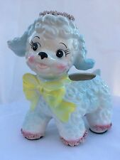 Vintage Large Blue Lamb Relpo Baby Planter with Spaghetti Detail