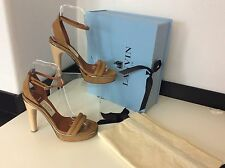 LANVIN NEW Tan Sandal Shoes Heel Size 37.5 Uk 4.5 £635 Peep Toe BNWB Box Dustbag